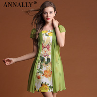 2013 summer women's fresh knitted print chiffon faux two piece set short-sleeve dress
