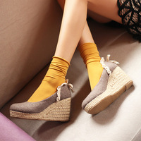 2013 women's shoes lace vintage straw braid platform shoes princess single shoes
