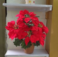 Free shipping 7 fork small christmas flower poinsettia artificial flower christmas flower bonsai artificial flower