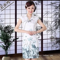 White beauty green water quality intellectuality qipao short slim small yards plus size one-piece dress female tea