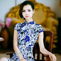 Cheongsam/chirpaur Hemp elastic cheongsam daisy blue . sexy chinese style summer fashion vintage 2013 one-piece dress