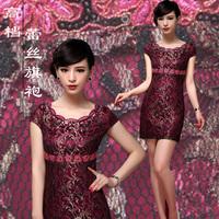 Cheongsam/chirpaur 2013 summer plus size wedding dress banquet cheongsam noble lace cheongsam