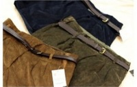 2013New Zipped Faddish Pockets Turn-up Pants Dark Green /Coffee YY10122219-1/	YY10122219-2
