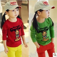 Kids clothing wholesale 2013 autumn new girls long-sleeve T-shirt sanded garfield basic shirt Free shipping