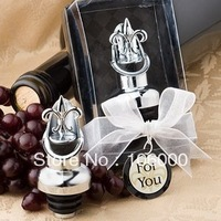 "freeshipping 100pcs/lot ""Fleur-de-Lis"" Elegant Chrome Wine Stopper /bottle Pourer Wedding Favors"