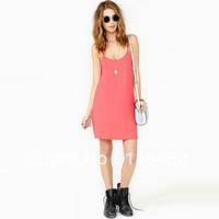 free shipping women's fashion sexy deep V-neck racerback low o-neck solid color spaghetti strap dress  lycra loose dress