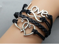 Free shipping!!6pcs Heart & Infinity Wish and Love bracelet Black wax cord Black Leather Antique Sliver Cute Charm Bracelet