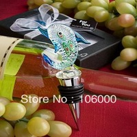 freeshipping 100pcs/lot Murano Glass Collection Dolphin Design Wine Bottle Stopper  Wedding Favors