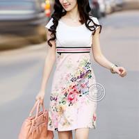 M,L,XL,XXL,XXXL.2013 summer women temperament short-sleeved Slim print round neck Korean plus size knee-length dress