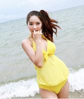 Female swimwear one piece big black yellow triangle bikini 1 piece set