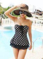 2013 skirted swimwear female black and white polka dot swimwear tube top bikini