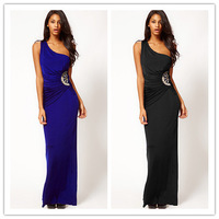 2014 New Fashion Women Sexy One-Shoulder Asymmetric Waist Bead Embellished Long Evening Dress Elegant Black Blue Free Shipping