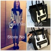 Free shipping 2013 fashion brand desinger handbag ladies messenger bag,Mini black with white PU Tote Clutch bag smiley handbag