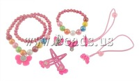 Free shipping!!!Jewelry Sets,Jewelry Brand, Glass, bracelet & earring & necklace, with Resin, Bowknot, 6mm, 10mm, 25x19x7mm
