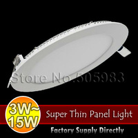Fedex Shipping, 10PCS 3W 4W 6W 9W 12W 15W AC85-265V Ultra Thin Ceiling Downlight White Light LED Recessed Panel Lamp + Driver