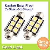 2XError Free CANBUS Festoon Dome 6LED 5050 SMD Interior Bulb Light 39mm White,Wholesale Car Error Free LED Lights FREE SHIPPING