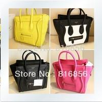 2014 fashion women leather handbag ladies messenger bags,brand desinger smiley face handbag tote bag shoulder bag ,Free Shipping