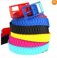 New Silicone Vinyl Plastic Jelly Silicone Suit Casual Belt Buckle Adjustable 3.5cm   200pc /lot