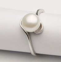 Free shipping bright luster  button round real freshwater pearl ring jewelry  adjustable  ring for girls or ladies