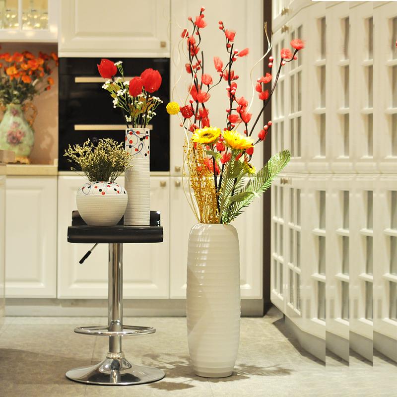 Ceramic modern brief decoration crafts decoration large floor vase flower(China (Mainland))