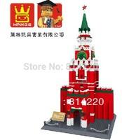 Free Shipping WanGe 8017 3D DIY 1048PCS large Building block sets eductional blocks toys famous building Spasskaya Tower Moscow