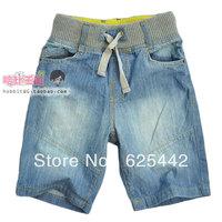 Free shipping 2013 new fashion summer 100% cotton soft denim capris knee-length pants kid's/boy's  shorts children's shorts 373