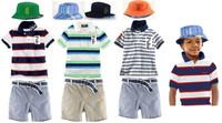 HOT SALE Brand fashion fashion kids streetwear suit baby boys polo t-shirt+ shorts + sun hats summer children's casual clothes
