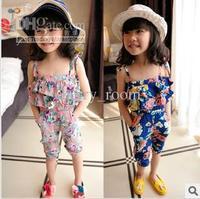 New Summer Kids Children Girls Fashion Floral suspender pants Romper Kids summer popular trouser children's cute clothes 0124