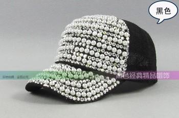 Summer women's pearl sparkling shiny diamond sunshading baseball cap, girl cotton adjustable mesh sun hats freeship