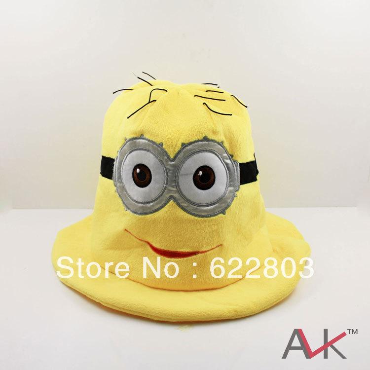 Hot cartoon filmes! Genuine, desprezível me minion, edição limitada, 3d olhos grandes brinquedos de pelúcia lindo chapéu 10pcs/lot frete grátis