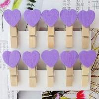Purple | Love Wood Clip | Decorative wooden clip photos clip | Wedding mini wooden clip | Wholesale | 3.5CM
