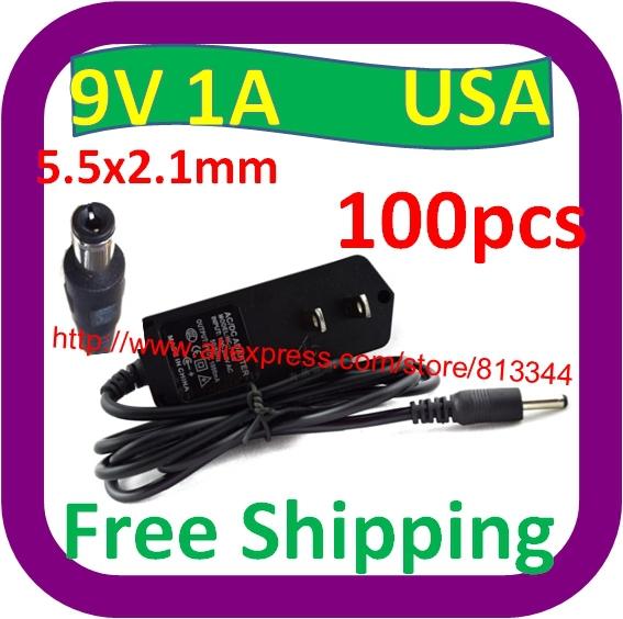100 pcs Free Shipping USA Plug 9V 1A DC AC Adapter Power Supply For Vtech Mobigo V.Reader Battery Charger(China (Mainland))
