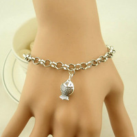 Min.order is $15(mix order),new fashion alloy silver little fish women and men's bracelet ,44-7 Free shipping