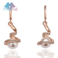 18K Rose Gold Plated Pearl Vintage Water Drop Drop Earrings  Wholesales Fashion Jewelry for women E011