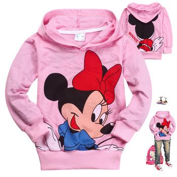 Free Shipping Hot 6pcs/lot Kids boys girls hoodies baby  cartoon Minnie T shirts Sweatshirts kids outerwear clothing wholesale
