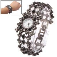 Free Shipping Round Dial Diamond Metal Woman Watch (Dark Grey)