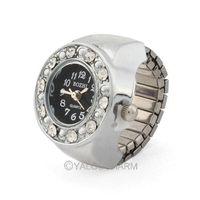 New Item Punk Rock style rhinestone Round Unisex Men Lady Silvery Watch elastic Finger Ring 1pc 61973 free ship
