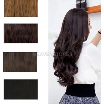 Width 25cm Lady Sexy Long Curl Wavy Clip-on Hair Extension Dark Brown hv3n