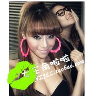 Fashion star female singer ds costume tspj neon ultralarge double-circle earrings