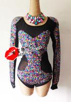 Fashion dj female singer costumes ds costume paillette gauze coverall