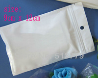 12x9 cmClear+white Plastic Retail Package bag,zipper Poly opp bag packing bag for accessories cable accessories packaging bag