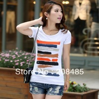 2013 Women new fashion tops Simple and elegant women's short-sleeved T-shirt Plus Size