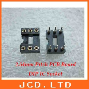 6Pin PCB Board DIP IC Socket 2.54mm Pitch with silver tone/Round pin IC Socket base connector