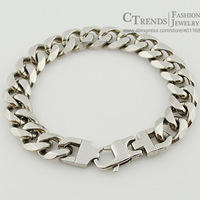 Fashion Polished Stainless Steel Curb Cuban Chain Bracelet For men Jewelry 2013,  22cm,13mm, Wholesale,Free Shipping, VB281
