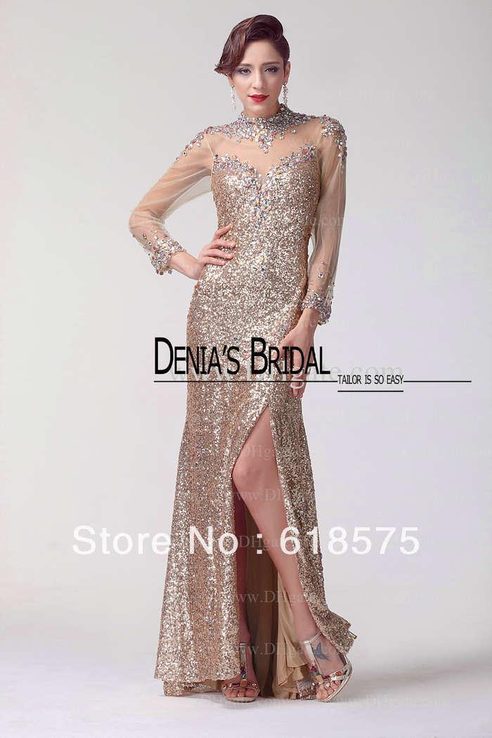 Sheath Sequins Lace Side Split Long Gold Prom Dresses Long Sleeve ...