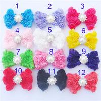 Free Shipping 20pcs/lot 12 colors rose Bowknot  pearl diamond Applique (no clips) DIY handmade hair accessories girls headbands