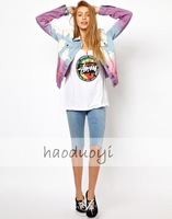 Womens loose solid cotton tank with colorful stussy printed for freeshipping and wholesale