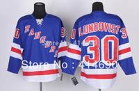 Free Shipping  Cheap Authentic New York Rangers Ice Hockey Jerseys #30 Henrik Lundqvist Jersey Wholesale Mix Order