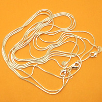 wholesale free shipping fashion 10pc 925 Sterling Silver 1mm snake shape Chain Necklace  30 inch N009