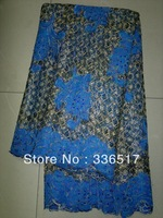 Free Shipping By DHL!!!african french lace fabric royal blue france Water soluble seqince design for wedding  FL1671 blue color